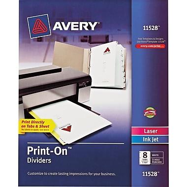 Avery Print-On Presentation Dividers, 8 Tab, White Tab, 1 Set (11528)
