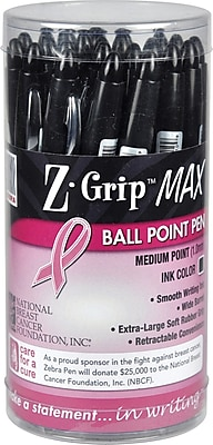Zebra Pen Z-Grip Max BCA Retractable Ballpoint Pens, Bold Point (1.2mm), Pink, 24/Pk (ZEB 32577)