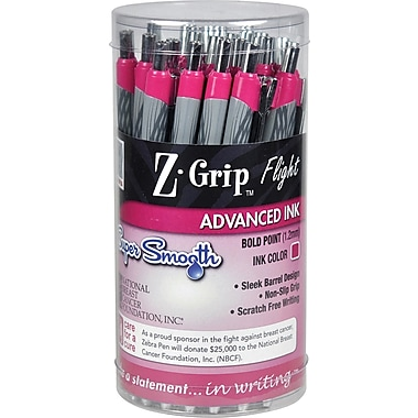 Zebra Z-Grip Flight BCA Retractable Ballpoint Pens, 1.2mm, Pink, 36/Pack