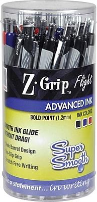 Zebra Pen Z-Grip Flight Retractable Ballpoint Pens, Bold Point (1.2mm), Assorted, 36/Pk (ZEB 92209)