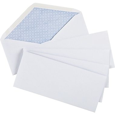 Staples® Envelopes White Security #10, 4-1/8