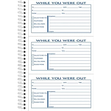 Adams® Telephone Message Book w/Phone Number Dividers