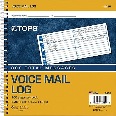 """""TOPS Voice Mail Log Book, Ruled, 1-Part, White, 8 1/2"""""""" x 8 1/4"""""""", 1/Ea"""""" 388296"