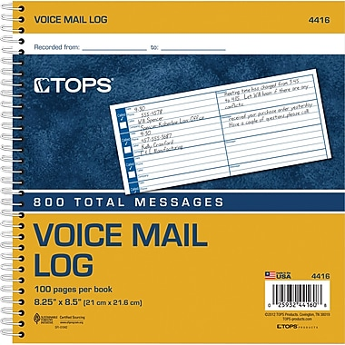 TOPS® Voice Mail Log Book, Ruled, 1-Part, White, 8 1/2