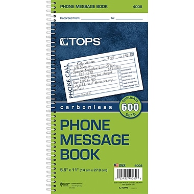 TOPS® Phone Message Book, Ruled, 2-Part, White/Canary, 11