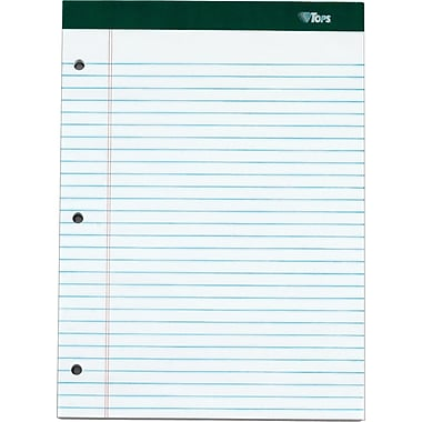Double Docket® Legal Notepad, 3-Hole Punched, Legal Rule, White, 100 Sheets, 6 Pads/Pack, 8-1/2