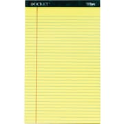 "Docket® Legal Notepad, Legal Rule, Canary, Rigid Back, 50 Sheets/Pad, 12 Pads/Pack, 8-1/2"" x 14"""