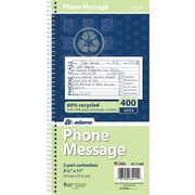 "Adams® Phone Message Book, Ruled, 2-Part, White/White, 11"" x 5 1/2"", 1/Ea"