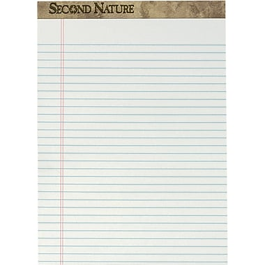 Second Nature® Legal Notepad, 18 lb, White, Recycled, 50 Sheets/Pad, 12 Pads/Pack, 8-1/2