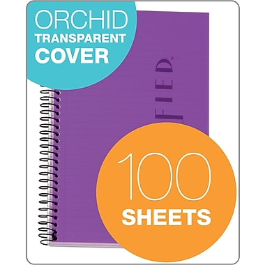 TOPS® Classified™ Colors Business Wirebound Notebook, College Ruled, Orchid, 8 1/2