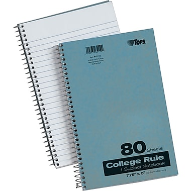 TOPS® Spiral-Bound Notebooks, 7-3/4
