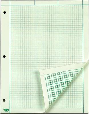 TOPS® Engineering Computation Pad, Green Tint, Quad Ruled, 8 1/2