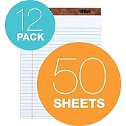 """TOPS Legal Notepads, 8.5"""" x 11.75"""", Wide, White, 50 Sheets/Pad, 12 Pads/Pack (TOP 7533)"""