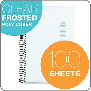 TOPS® Classified™ Colors Business Wirebound Notebook, College Ruled, White, 8 1/2