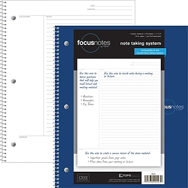 TOPS FocusNotes™ Notebook, 1-Subject, Wirebound, 11