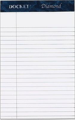 Docket® Diamond, Premium Stationery Tablet, White, 50 Sheets/Pad, 4 Pads/Box, 5