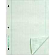 Engineering Computation Notepad, Green, 3-Hole Punched, Grid to Edge, 5x5, 100 Sheets/Pad, 8-1/2x11""