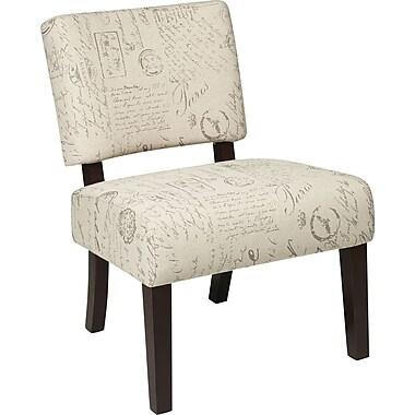 Office Star Avenue Six® Wood Jasmine Accent Chair, Script