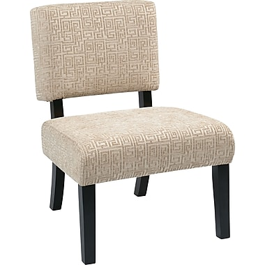 Office Star Avenue Six® Wood Jasmine Accent Chair, Maze Oyster