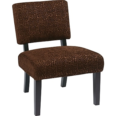 Office Star Avenue Six® Wood Jasmine Accent Chair, Maze Chocolate