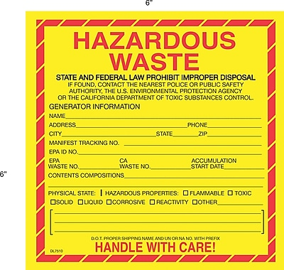 Tape Logic Hazardous Waste - California Shipping Label, 6