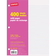 "Staples® Refill Paper, Ruled, 8-3/8"" x 10-7/8"", 400 Sheets"