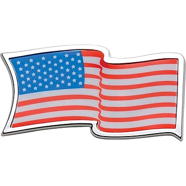 Badgez Chrome Emblems, U.S.A. Waving Flag Design