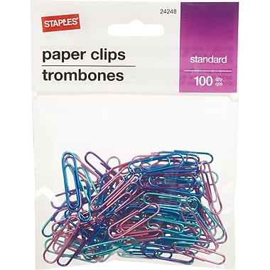 Staples® #1 Size Vinyl-Coated Paper Clips, Assorted Metallic Colours, 100/Pack