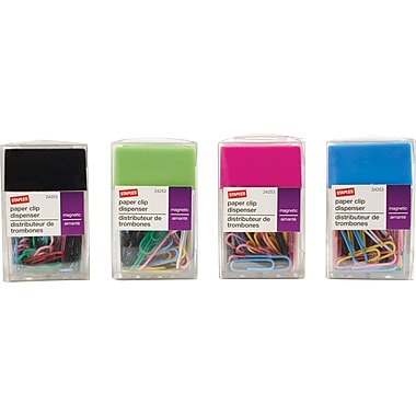Staples® Magnetic Paper Clip Dispenser, 100 Clip Capacity, Assorted Colours
