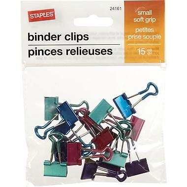 Staples® - Pinces relieuses SoftGrip, petites, 3/4 po, couleurs métalliques variées, paq./15