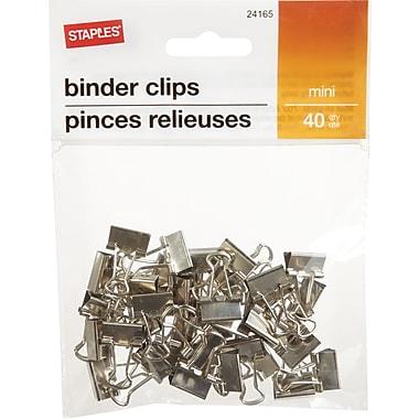 Staples® - Mini pinces relieuses, 3/5 po, argent, paq./40