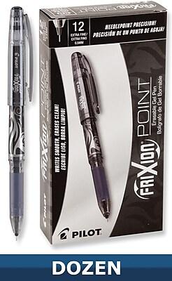 Pilot FriXion Point Erasable Gel Pens, Fine Point, Black, 12/Pack (31573)