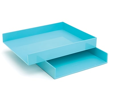 Poppin Aqua Stackable Paper Letter Trays