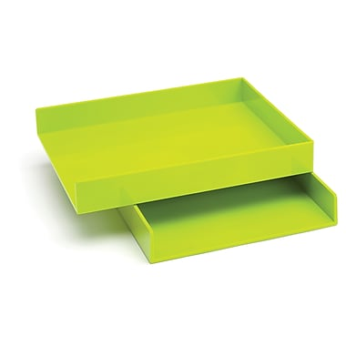 Poppin Letter Trays, Set of 2, Lime Green, (100219)