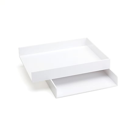 Poppin White Stackable Letter Paper Trays