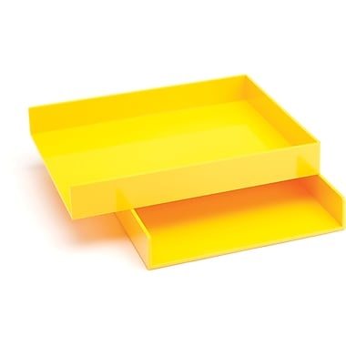Poppin Letter Trays, Set of 2, Yellow, (100213)