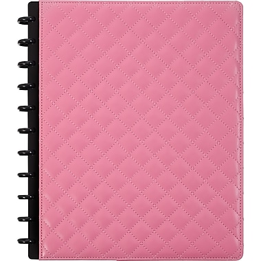 Staples® Arc Customizable Patent Quilted Leather Notebook System, Pink, 9-1/2