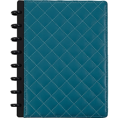 Staples® Arc Customizable Patent Leather Notebook System, Teal Quilted, 9 1/2