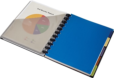 """Staples 5-Subject Arc Notebook System, 8.5"""" x 11"""", Narrow Ruled, 120 Sheets, Black (24457)"""
