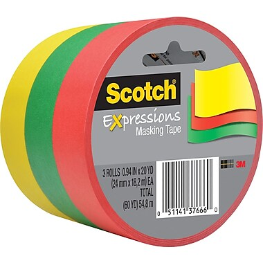 Scotch® Expressions Masking Tape, Green, Yellow & Red, 1