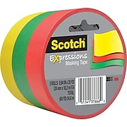 """Scotch® Expressions Masking Tape, .94"""" x 20 yds., Red, Yellow, Green, 3 Rolls (3437-3PRM)"""