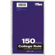 """TOPS® Wirebound 3-Subject Notebook, 9 1/2"""" x 6"""""""