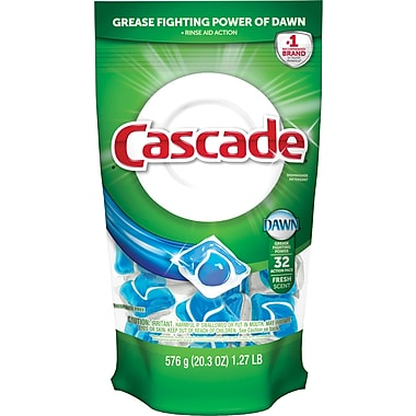Cascade® 2-in-1 Action Pacs® Automatic Dishwasher Detergent, Original Scent, 32/Pack, 5 Packs/Case