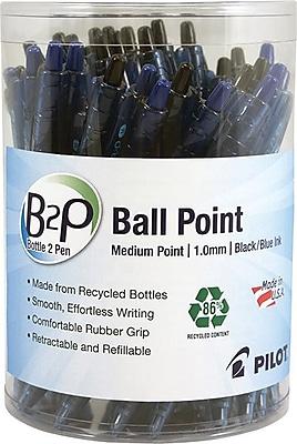 Pilot B2P Bottle-2-Pen Retractable Ball Point Pens, Medium Point, Black/Blue, 36/Pack (57050)