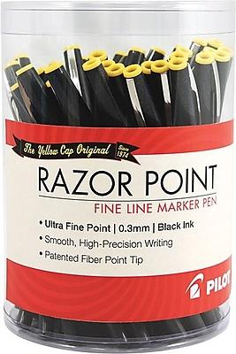 Pilot Razor Point Fine Line Marker Pens, Ultra Fine Point, Black, 36/Pack (84064)