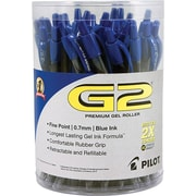 Pilot G2 Premium Retractable Gel Roller Pens, Fine Point, Blue, 36/Pack (84066)