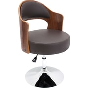 LumiSource Leatherette Cello Chair, Walnut/Brown