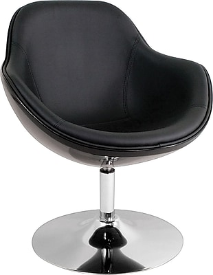 LumiSource Faux Leather Saddlebrook Lounge Chair, Black (CHR-SDLBRK BK)