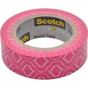 "Scotch® Expressions Washi Tape, 0.59"" x 10.91 yds., Pink Quatrefoil (C314-P23)"