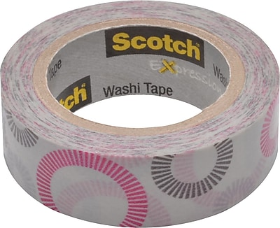 Scotch® Expressions Washi Tape, Striped Circles Pattern, 3/5